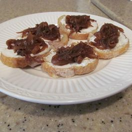 Goat-Ricotta Crostini with Spicy Onion & Garlic Jam