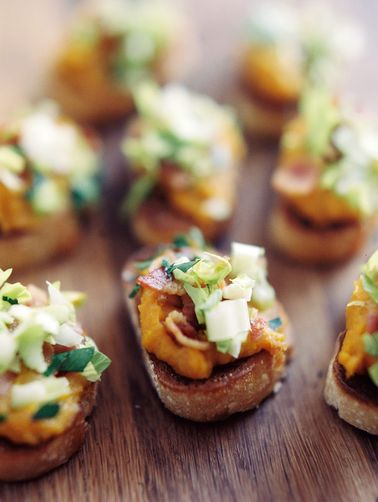 Squash Butter Crostini with Blue Cheese, Celery, and Bacon