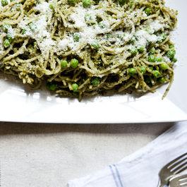 Pistachio Pesto Pasta with Sweet Peas & Walnut Parmesan