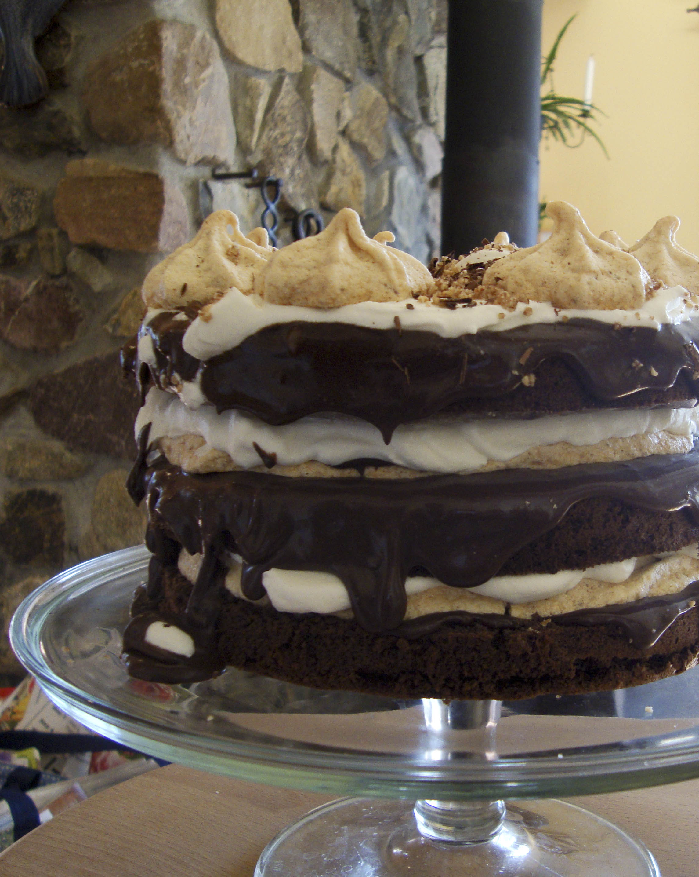 Chocolate Celebration Cake with Pecan Meringues