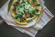Za'atar Carrot and Leek Flatbread with Almonds and Fennel Salad