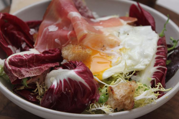 Olive Oil Poached Eggs with Italian Chicories and Speck
