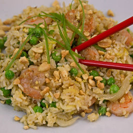 Shrimp and Egg Fried Rice with Peas and Napa Cabbage