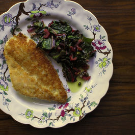 Breaded Chicken Cutlets with Wilted Swiss Chard