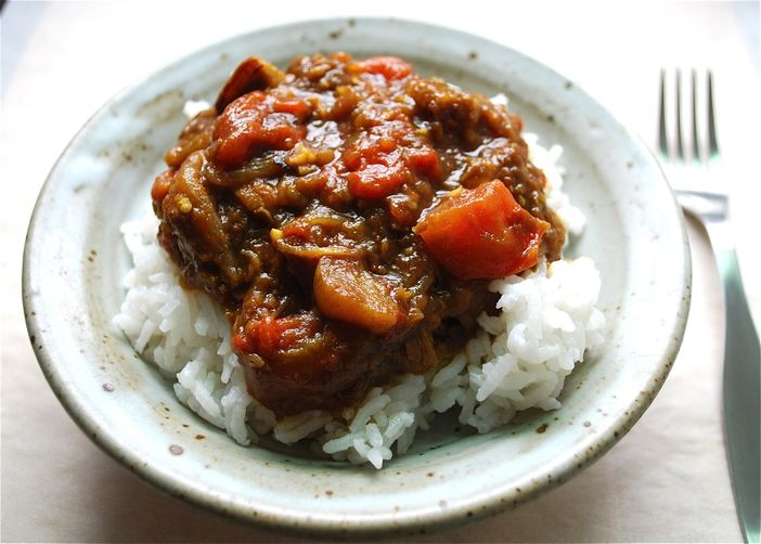 Eggplant and Tomato Stew with Pomegranate Molasses