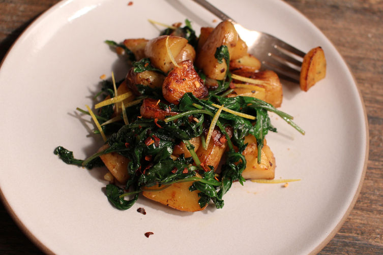 Sauteed Dandelion Greens with Roasted Fingerling Potatoes
