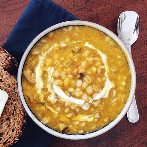 Lemony Yellow Tomato Soup with Shiitake Mushrooms and Barley