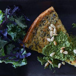 Chard farinata with leafy greens pesto