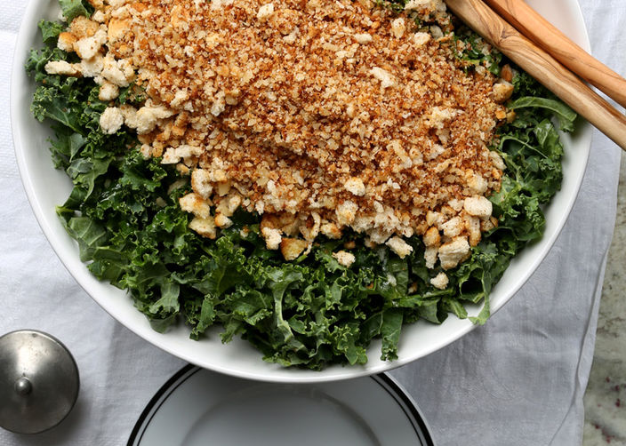 Kale Salad with Brown Butter Breadcrumbs