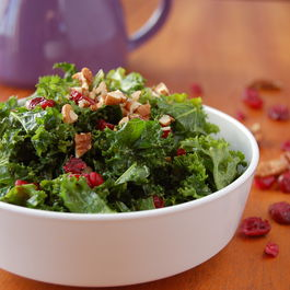 Spiced Curry Kale Salad with Dried Cranberries and Pecans