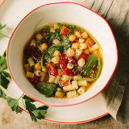 chile chickpea brodo with chorizo and greens