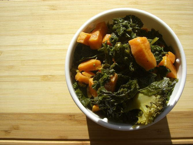 Roasted Kale, Sweet Potatoes, and Broccoli
