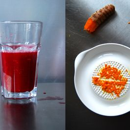 Blood Orange Juice with freshly grated Turmeric and Ginger