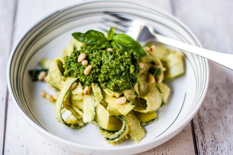Kale, Basil & Spinach Pesto with Creamy Zucchini Pasta