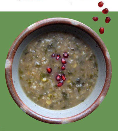 Pomegranate & Spinach Persian Soup (?sh 'eh Anar)