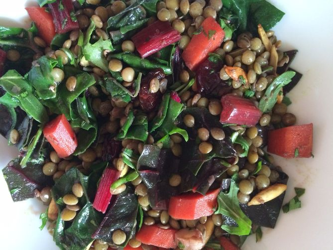 French Green Lentil Salad with Quick-Pickled Red Chard Stems