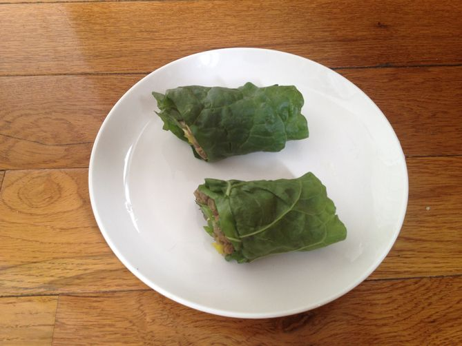 Chard Wrap with Mushrooms and Lentils