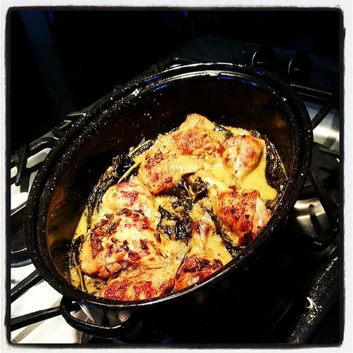Moroccan Braised Chicken and Kale