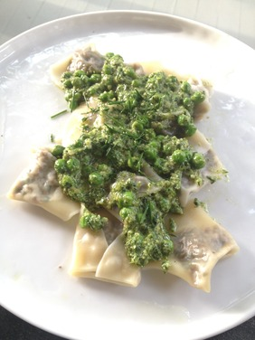 Beef and Herb Love Letters with Mixed Herb and Pea Pesto