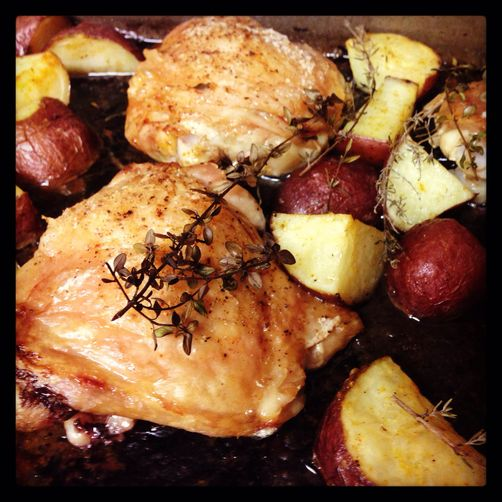 Date Night Roasted Chicken Thighs with Morel Herb Butter and Potatoes