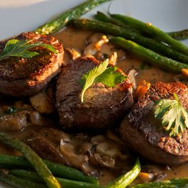 Beef Medallions with Madeira Mushroom Sauce and Haricot Verts