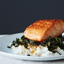 Crispy Coconut Kale with Sweet Potatoes and Roasted Salmon