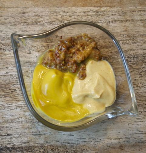 Poached Potatoes with Triple Mustard