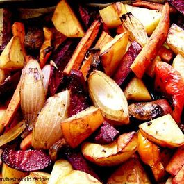 Roasted  vegetables with chilli soy sauce and mustard