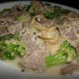 Beef and Broccoli Pasta with Mustard Cheese Sauce