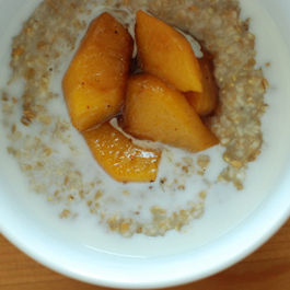Maple Walnut Steelcut Oatmeal with Peach Compote