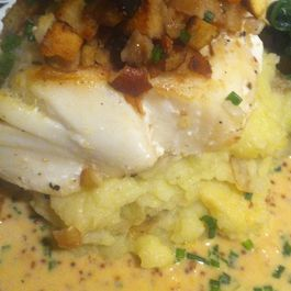 Pretzel Crusted Halibut with Mustard Greens & Mustards Beurre Blanc