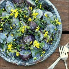 Purple Potato Salad with Baby Fennel, Mustard Greens and Flowers