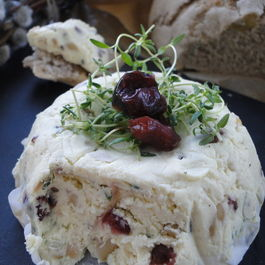 Creamy goat cheese with pine nuts & cranberries