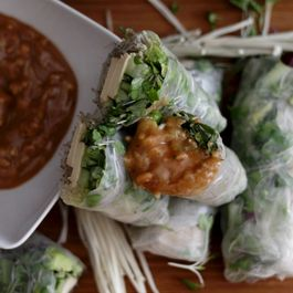 fresh spring rolls with thai peanut dipping sauce
