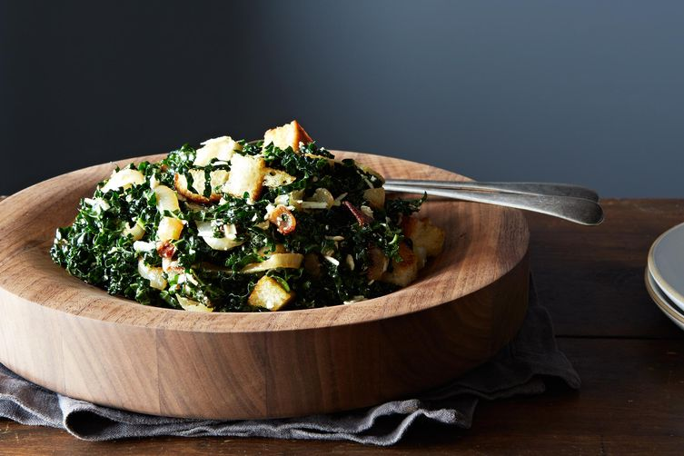 Caesar-Style Kale Salad with Roasted Onions and Ricotta Salata Recipe ...