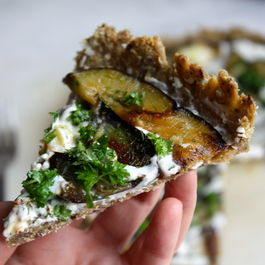 Goats Cheese & Aubergine Quinoa-Oat Crust Pizza