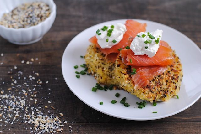 Everything Bagel Quinoa Cakes with Smoked Salmon and Crème Fraîche