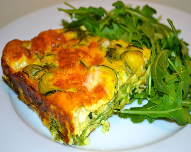 Broccoli, Zucchini and Red onion  Crustless Quiche