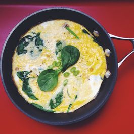 Frittata for Two with Leeks, Mushrooms, Spinach, and Swiss