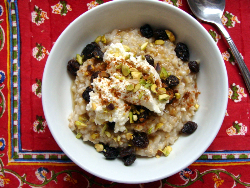 Steel Cut Oats with Ricotta, Pistachios & Raisins
