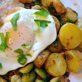 Baby Brussel Sprout, Fava Bean and Pancetta Breakfast Hash