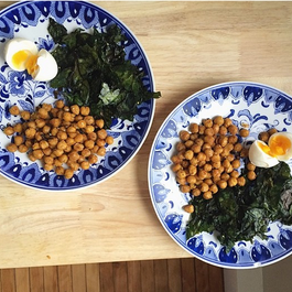Shallot + Paprika Fried Chickpeas, Spicy Rainbow Chard Chips & Soft-Boiled Eggs