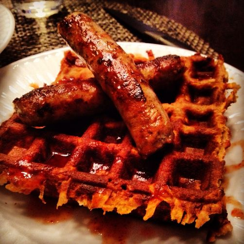 Almond Flour & Coconut Sweet Potato Waffles With Agave Siracha Sauce