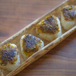 Grilled Rice Balls with Leek Miso (Negi-Miso Yaki Onigiri)