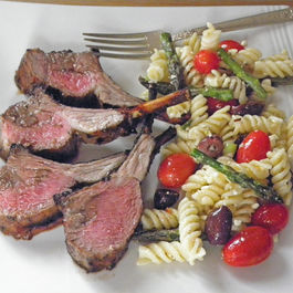 Grilled Rack of Lamb with Raw Vegetable Pasta Salad.