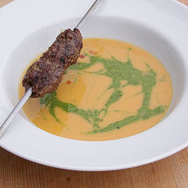 Sweet Potato Hummus Soup with Gremolata and Lamb Sausage
