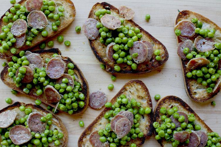 Fresh Pea and Salami Bruschetta