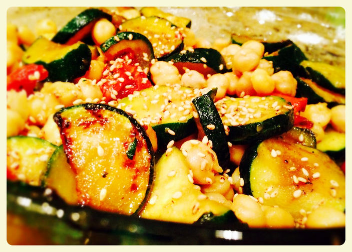 Warm chickpea and zucchini salad, with lemon and sesame dressing