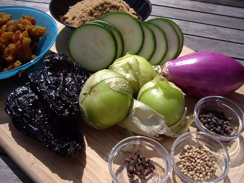 Zucchini, Tomatillo and Ancho Chile Chutney