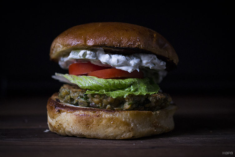 Chickpea Burger with Yogurt Cucumber Sauce